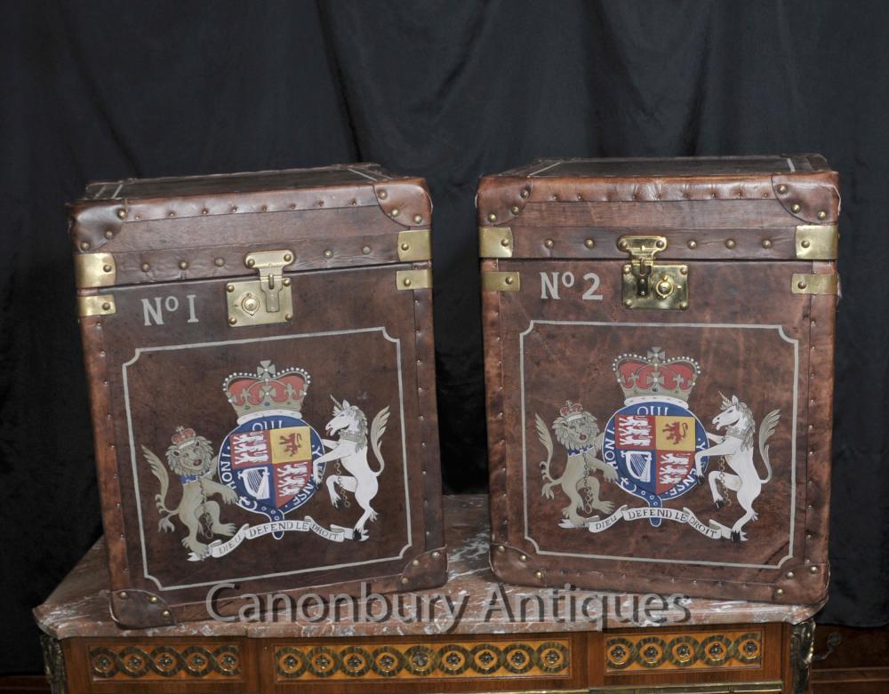 Paire Steamer Tables Bagages Boîtes valises latérales du coffre en cuir