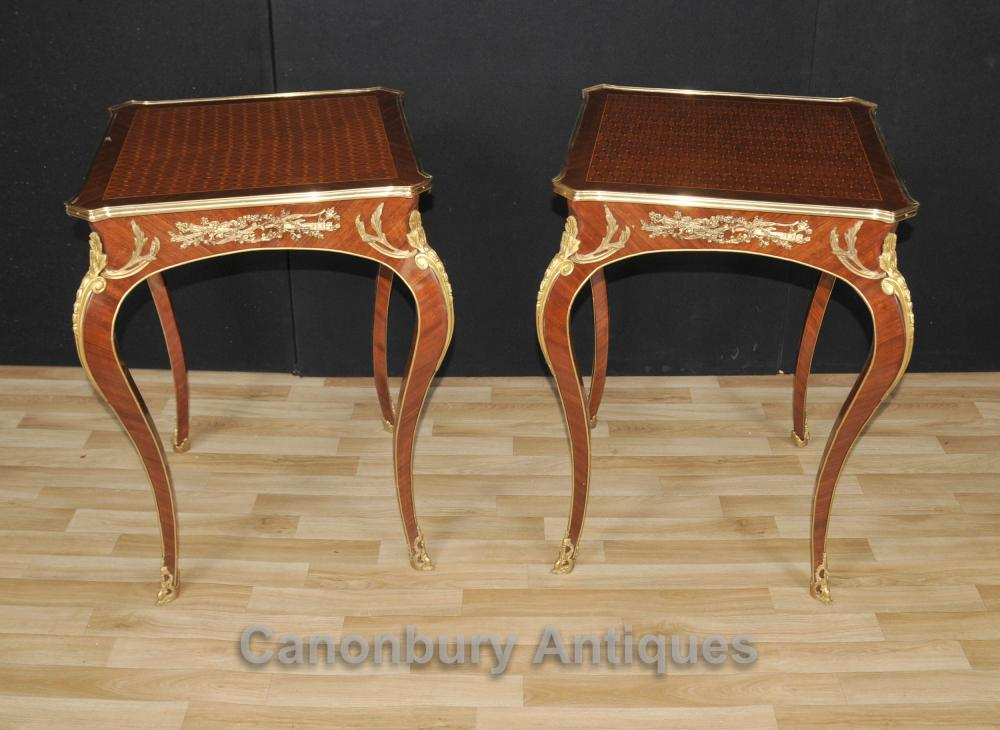 Paire française Empire Louis XVI Cocktail Side Tables Marqueterie Inlay