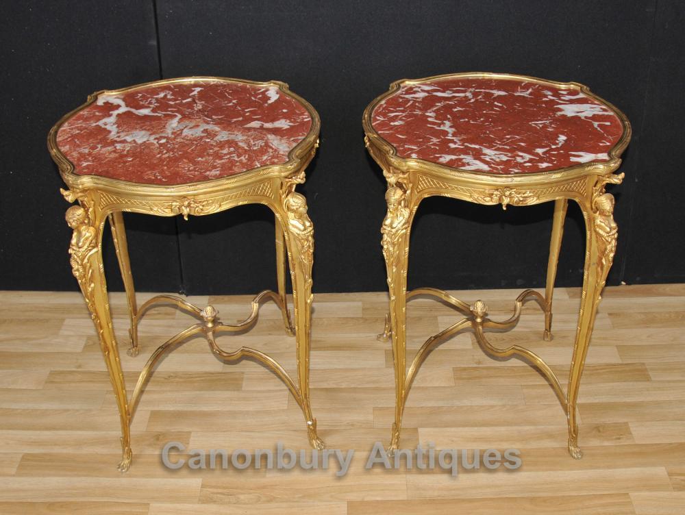 Paire française Empire Ormolu Tables basses de cocktail Maiden Jambes
