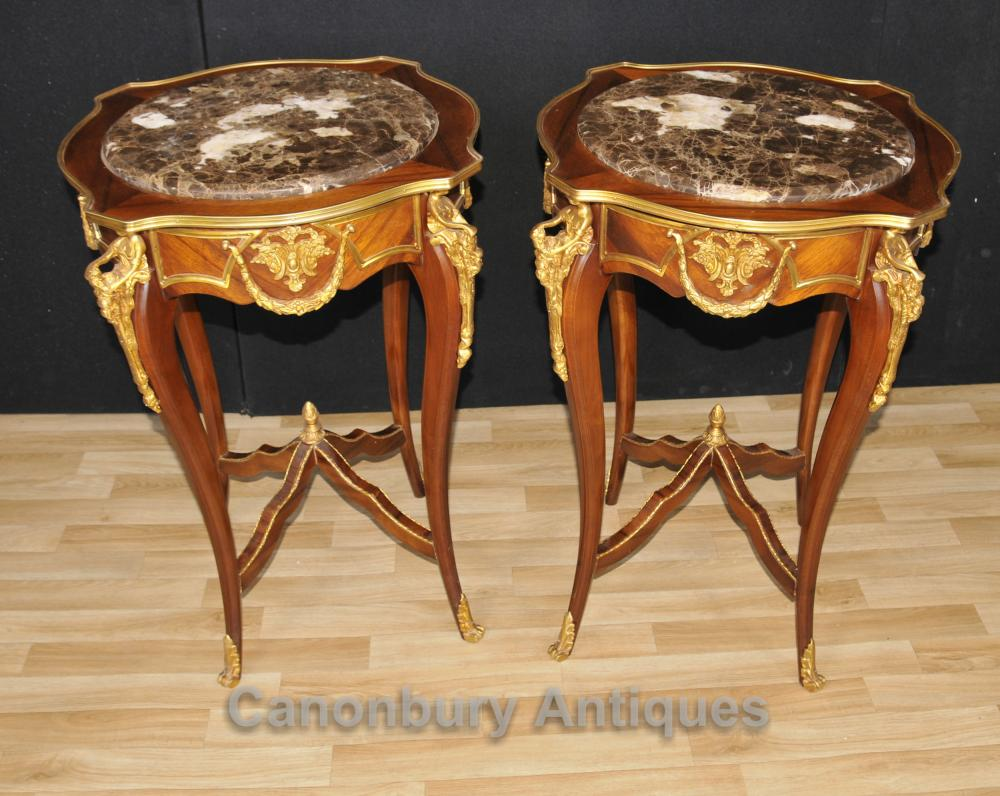 Paire française Empire Side Cocktail Tables Kingwood Ormolu