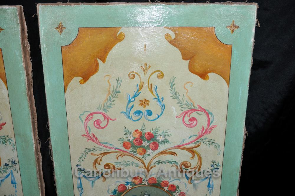 Paire peinte à la main Renaissance italienne Screens Peintures Tableaux