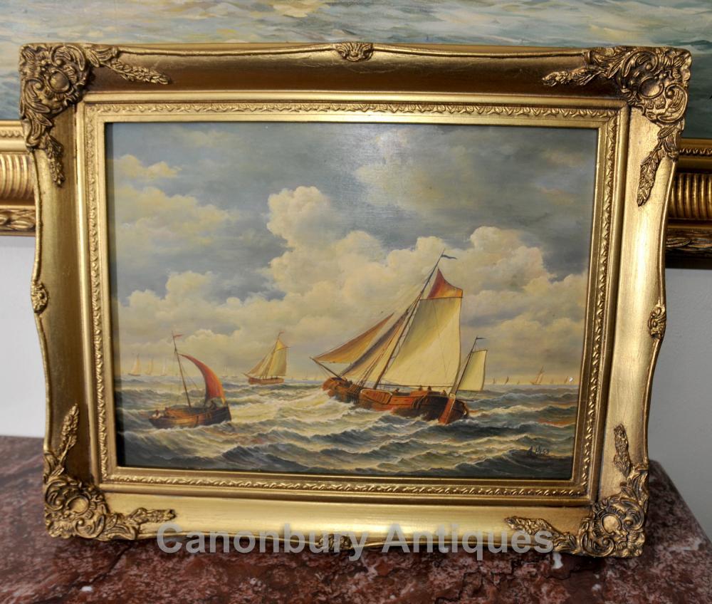 Peinture à l'huile Néerlandais Seascape Bateau à voile Maritime Art Signé A Hess