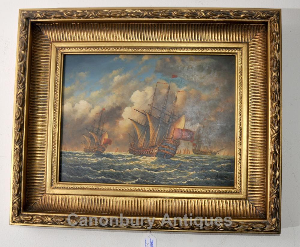 Peinture à l'huile espagnole Galleon Sail Boat Maritime Seascape