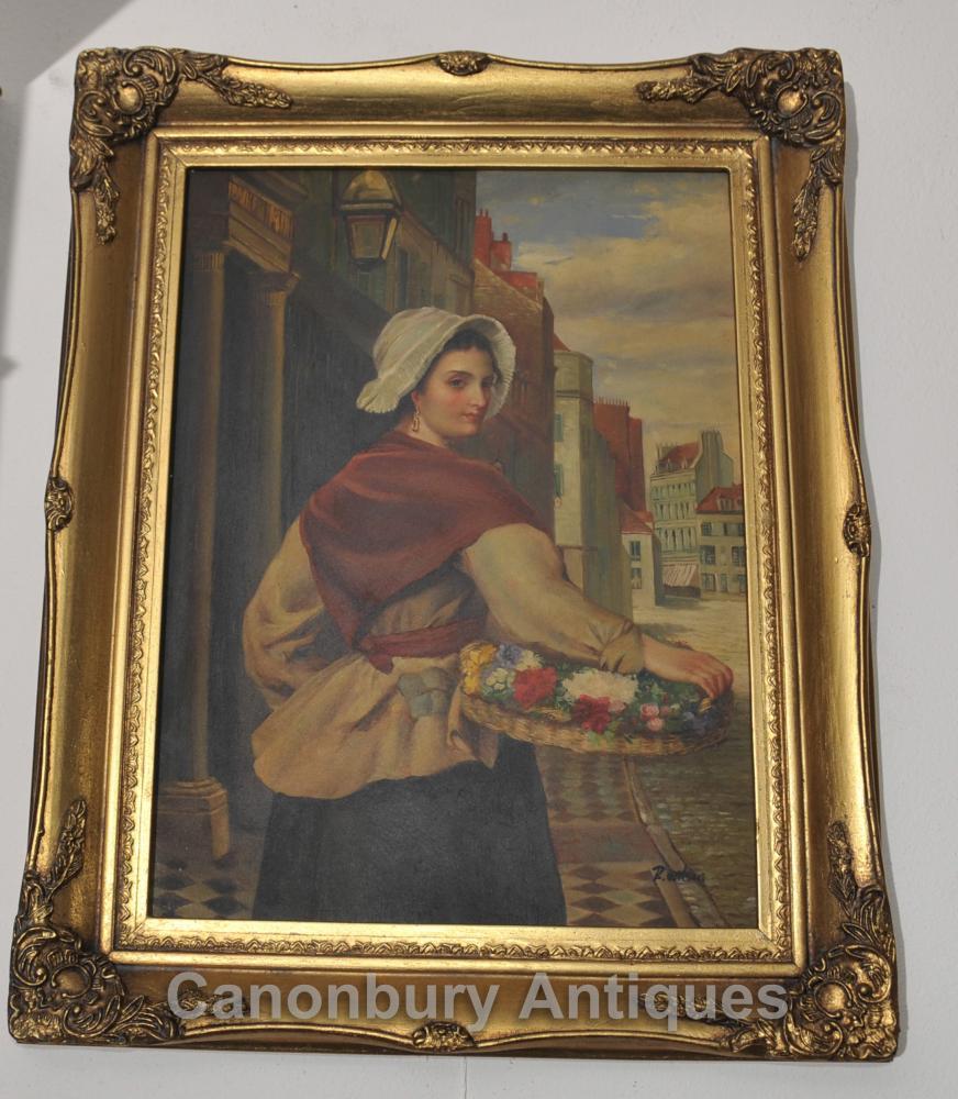 Peinture à l'huile italienne Maiden Flower Vendeur Portrait Art