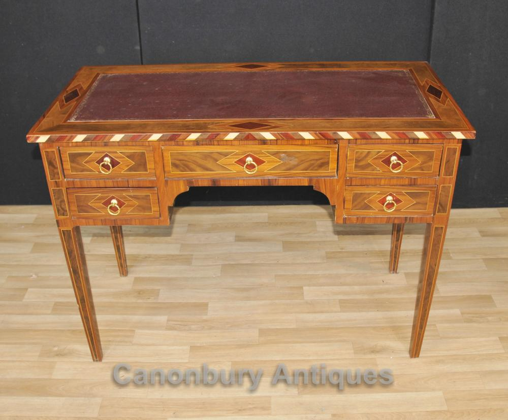 Regency Knee trou bureau Marqueterie Inlay Writing Bureau Table