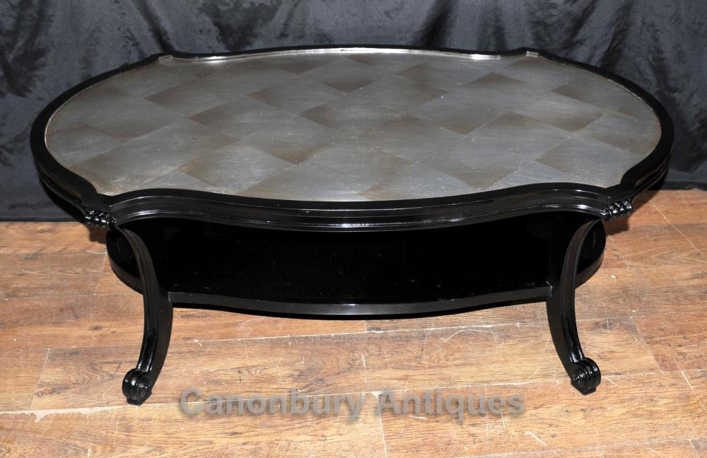 Regency Noir Laque Café Table Meubles Intérieurs