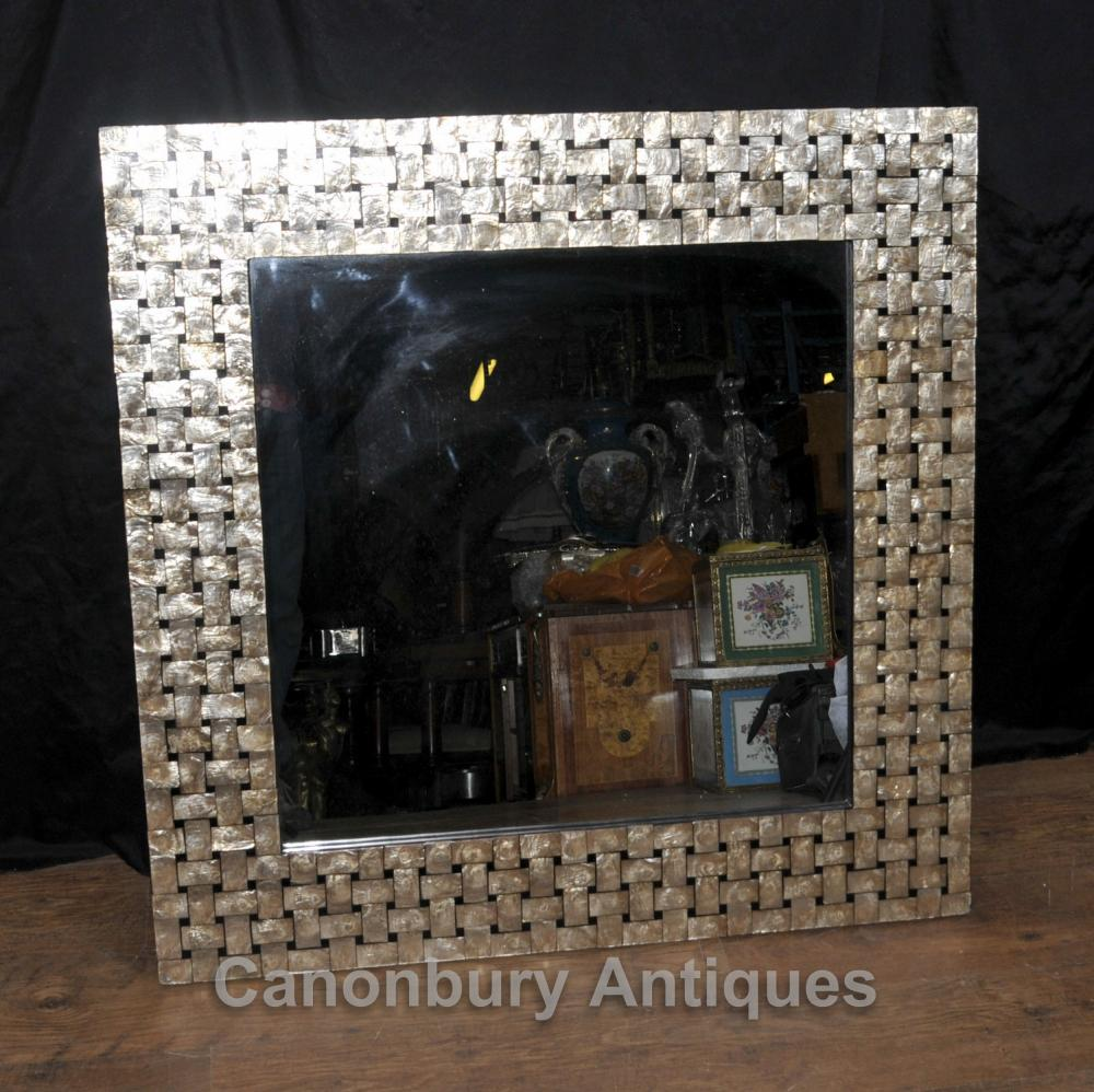 Regency Shell Miroir verre carré Mantel Miroirs rotin Regency Shell miroir carré de verre