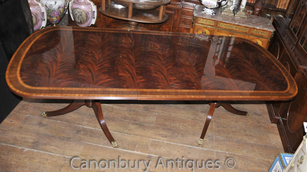 Regency Table extensible Pedestal Dining Flame Acajou English