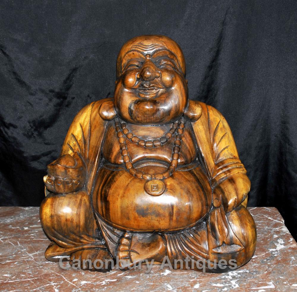 Sculpté à la main Heureux Bouddha Statue Figurine Art bouddhiste Bouddhisme