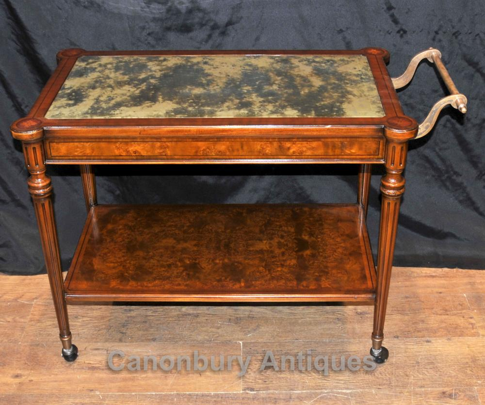 Tables Edwardian Boissons Tea Trolley Walnut Console