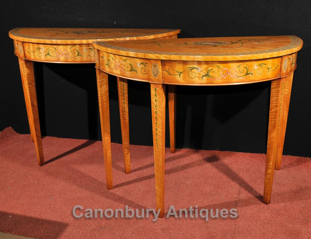Tables Pair Adams Console Regency Demilune Peint Satinwood Furniture