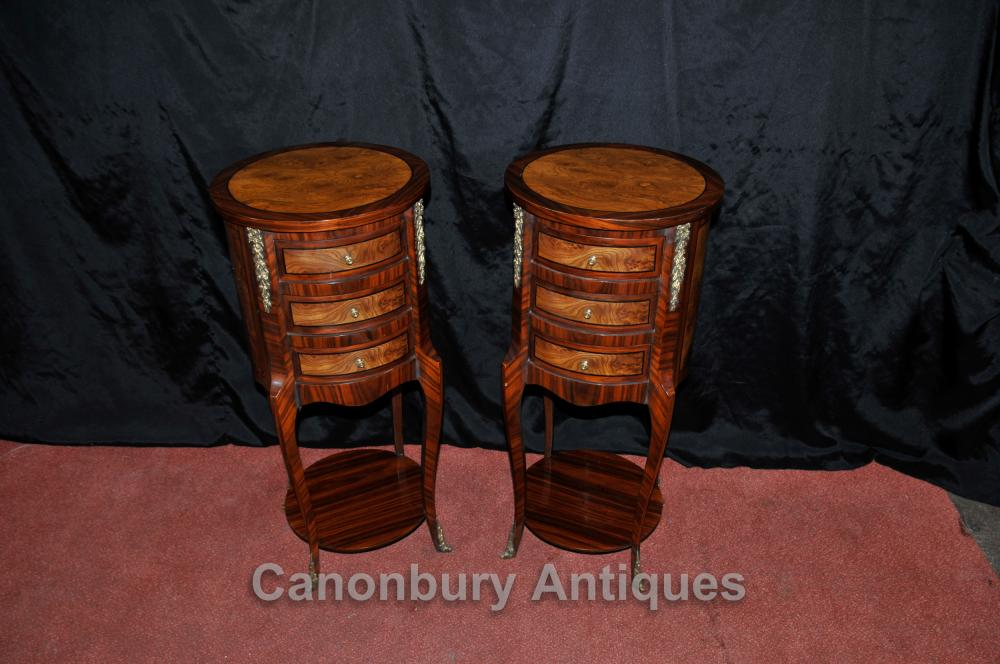 Tables Paire Regency chevet Commodes Tiroirs Nightstands Noyer