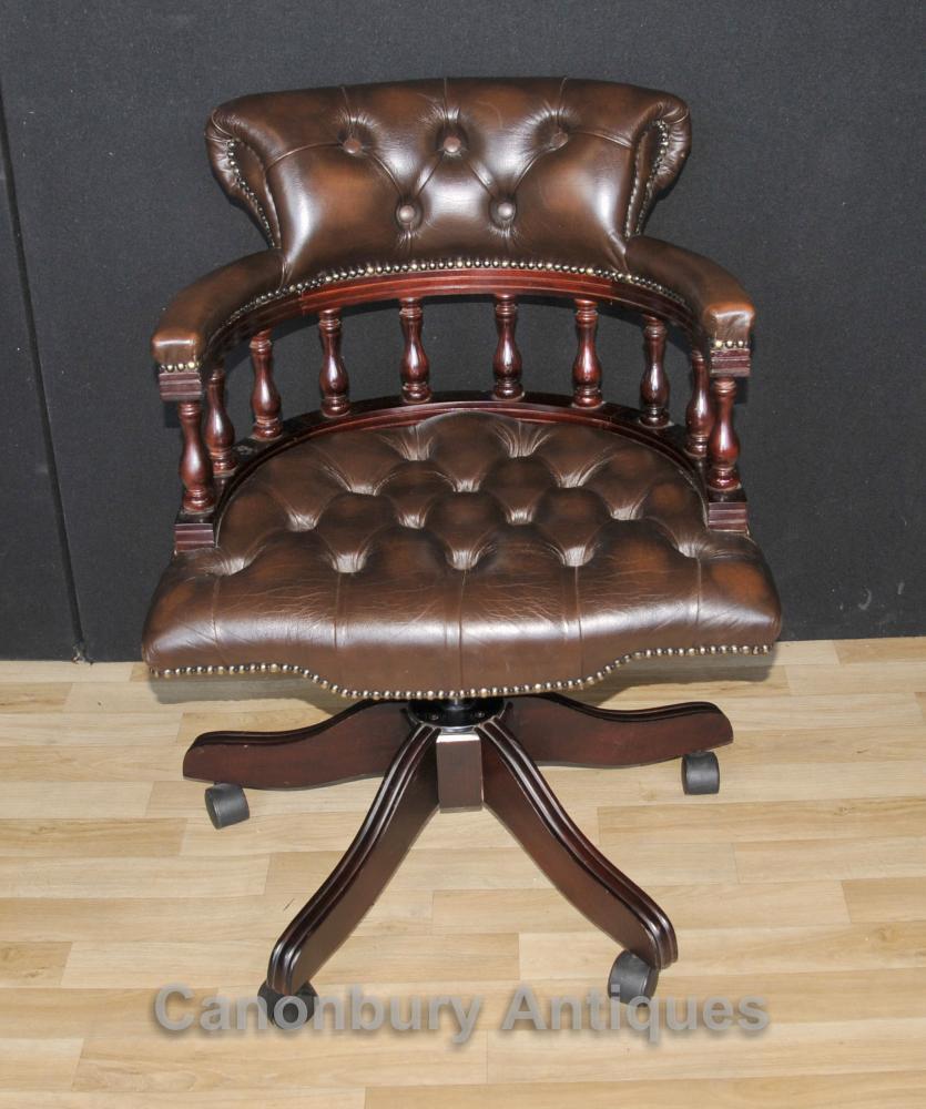 Victorian Capitaines Chaise de bureau pivotant bureau Chaises avec cuir