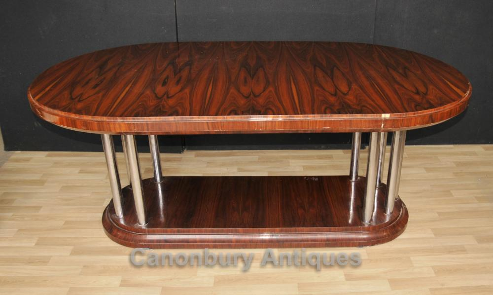 Art Deco Table Manger Rosewood Chrome Legs Moderniste