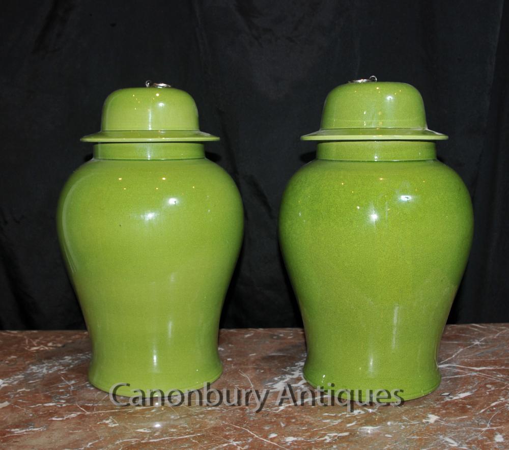 Paire chinois Qing porcelaine à couvercle Urnes Vases Ginger Temple Jars