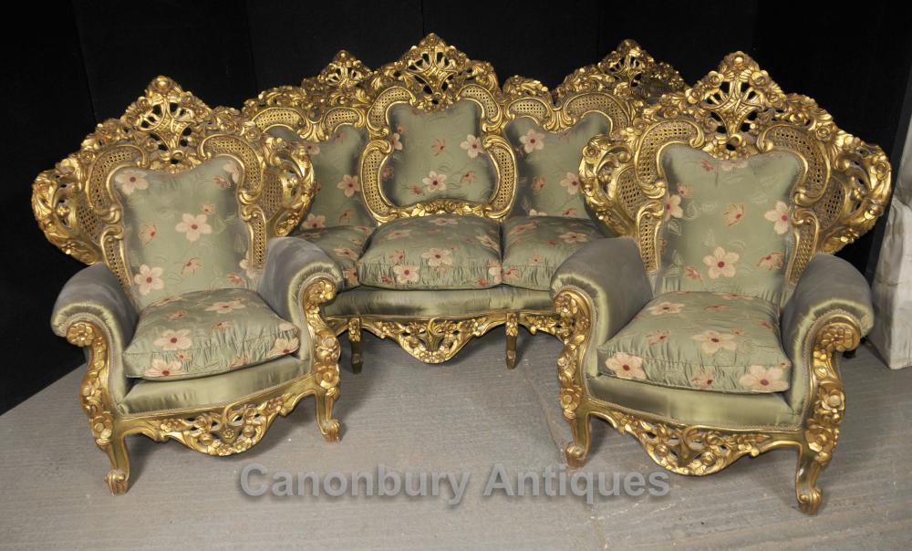 Président français antique Rococo Sofa Suite Gilt Fauteuils Lounge Chippendale