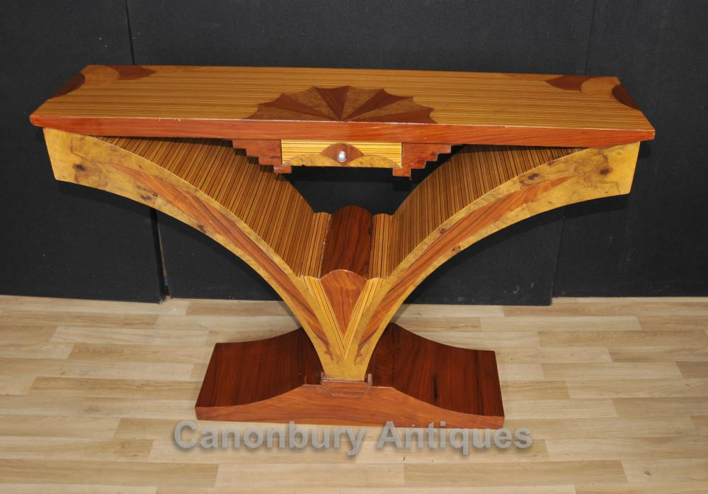 Tableaux Art Déco Console Birdseye Maple Inlay Modernistes