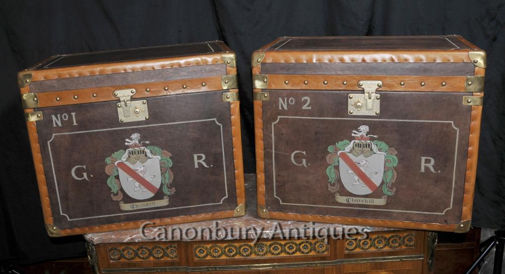 Tables Steamer Trunk bagages Boîtes à café latérales en cuir Paire