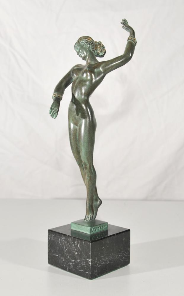 Antique Art Deco Bronze Dancer Figurine Signée Guerbe originale