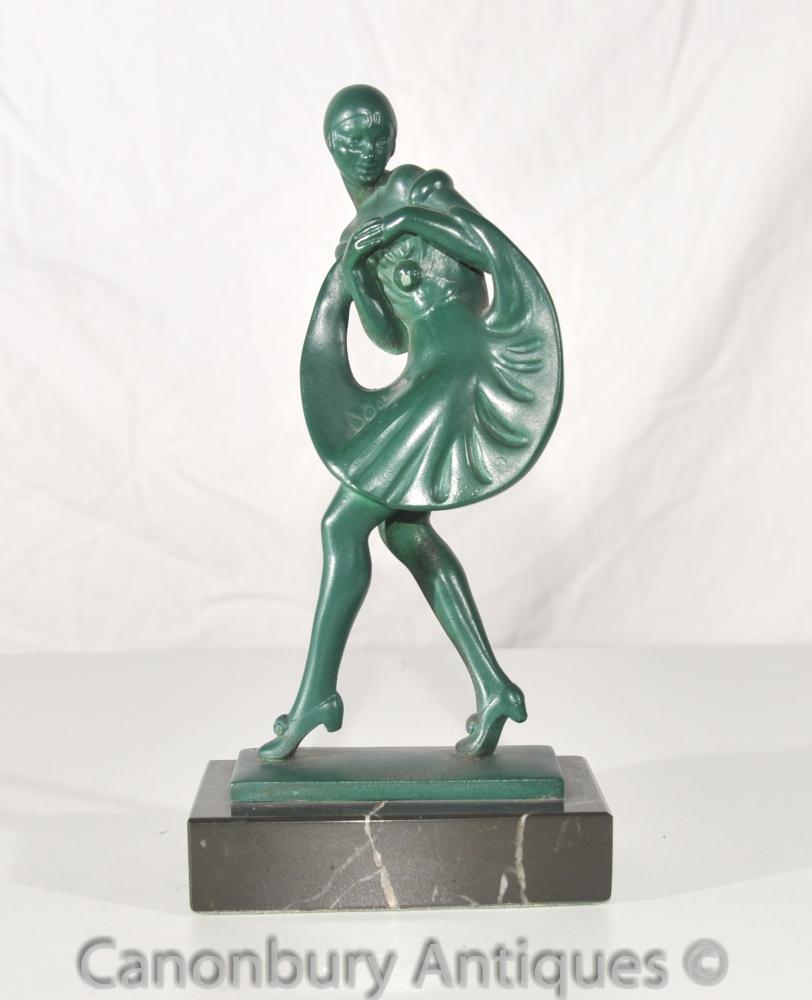 Antique Art déco français Bronze Dancer Signée Guerbe Le Verrier Fonderie