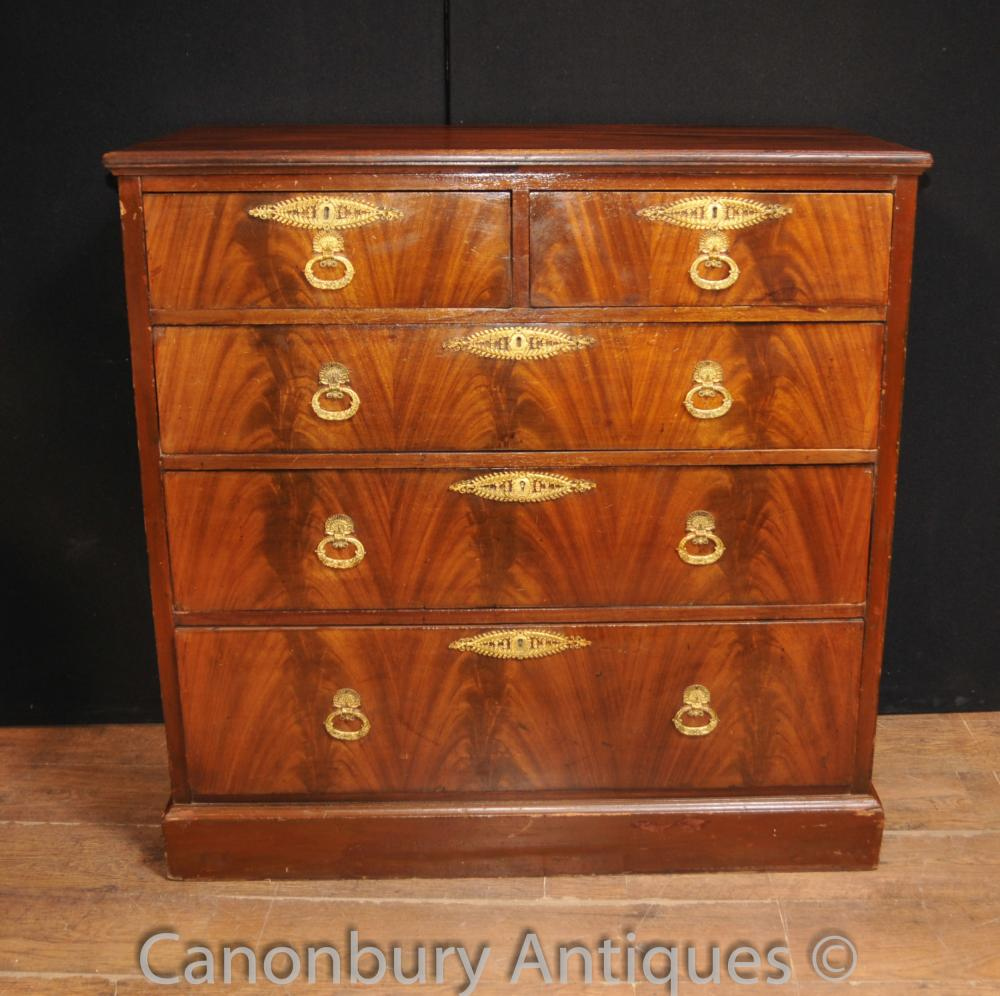 Antique Mahogany Flame Victorian Chest Tiroirs Bertram et Fils de Londres