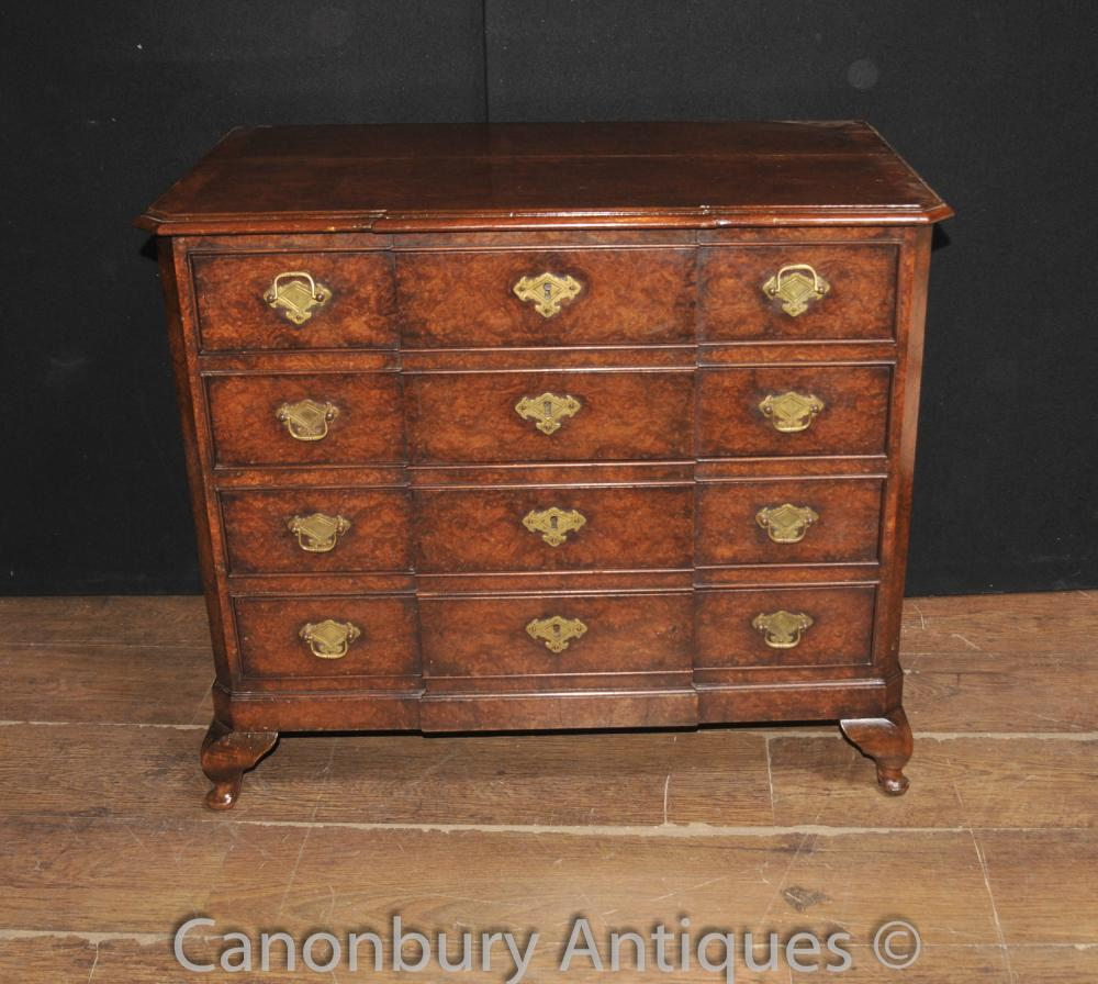 Antique Regency Oyster Walnut Chest Tiroirs Breakfront Cabinet
