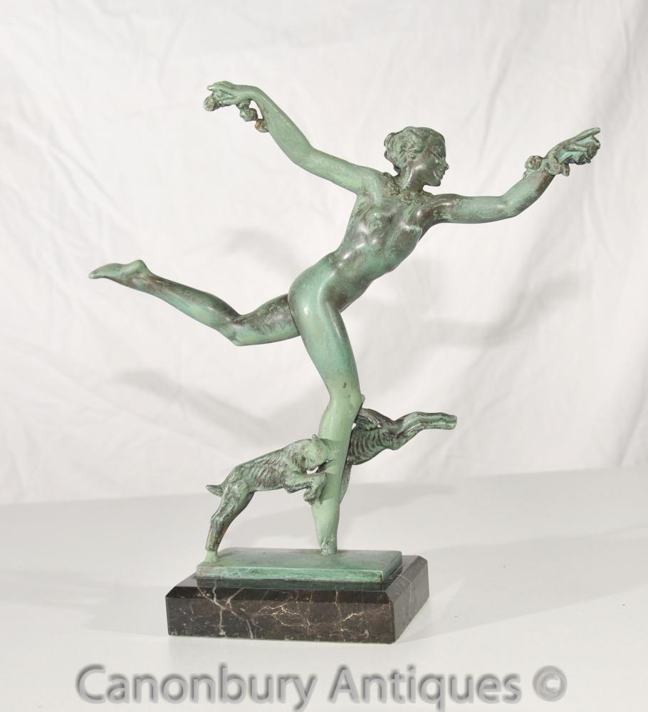 Art Deco Bronze Antique Figurine Signée Fayral Fonderie Le Verrier