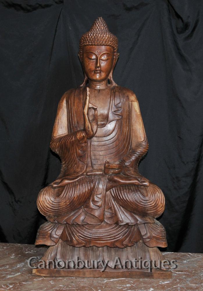 Big Buddha sculpté Sculpture bouddhiste tibétain Art bouddhisme Lotus