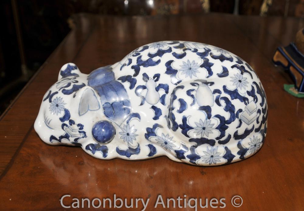 Bleu et Blanc Porcelaine chinoise Ming Cat