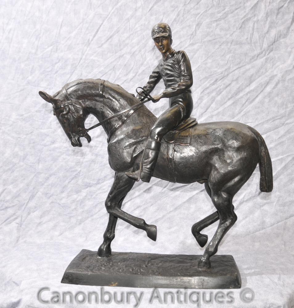 Bronze Horse Jockey par Bonheur Derby français Chevaux Castings