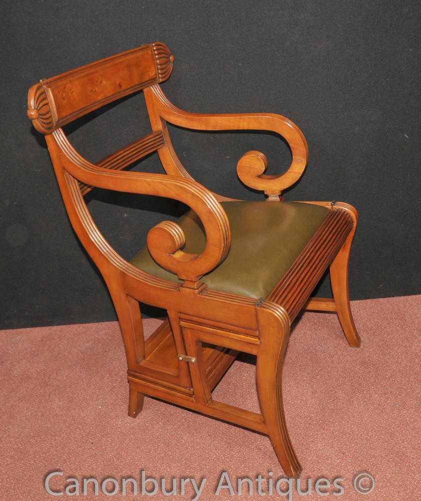 Chaise Regency métamorphiques Steps Bibliothèque Ladder Walnut Fauteuils