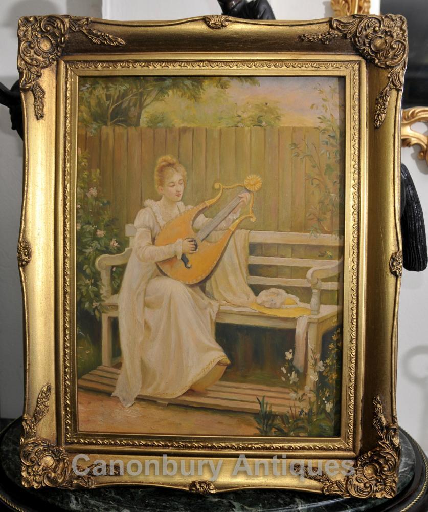 Edwardian Peinture à l'huile Portrait de jeune fille et Lyre musicale