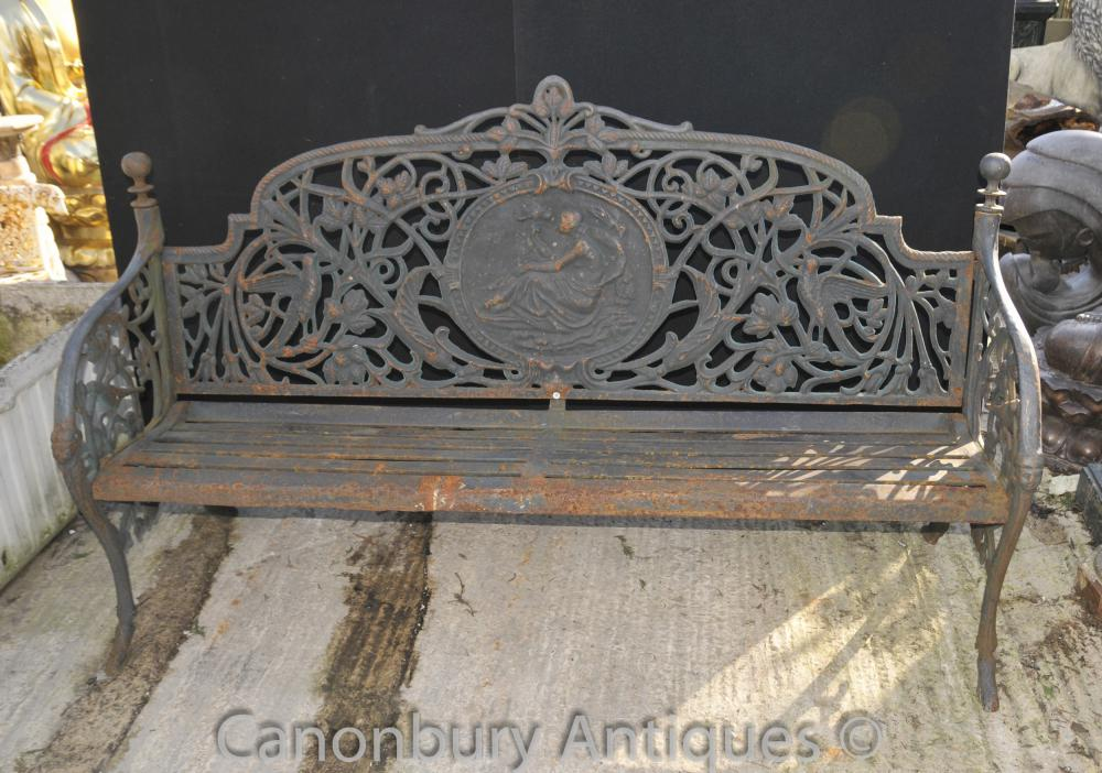 English Cast Victorian Fer Garden Bench Seat Architectural