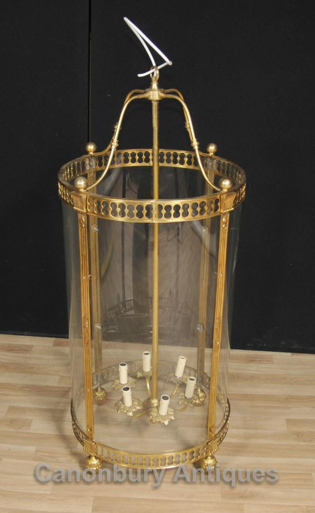 Français Empire Brass Lantern Verre Chandelier Lighting Lumière