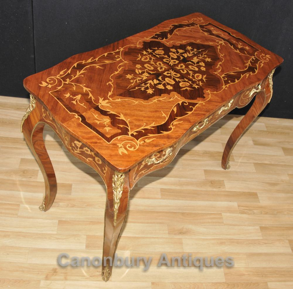 Français Louis XVI Bureau Bureau Plat Writing Table Marqueterie Inlay