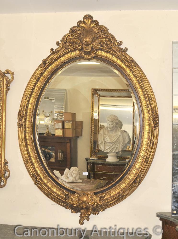 Français Louis XVI Gilt Miroir ovale en verre Pier Miroirs