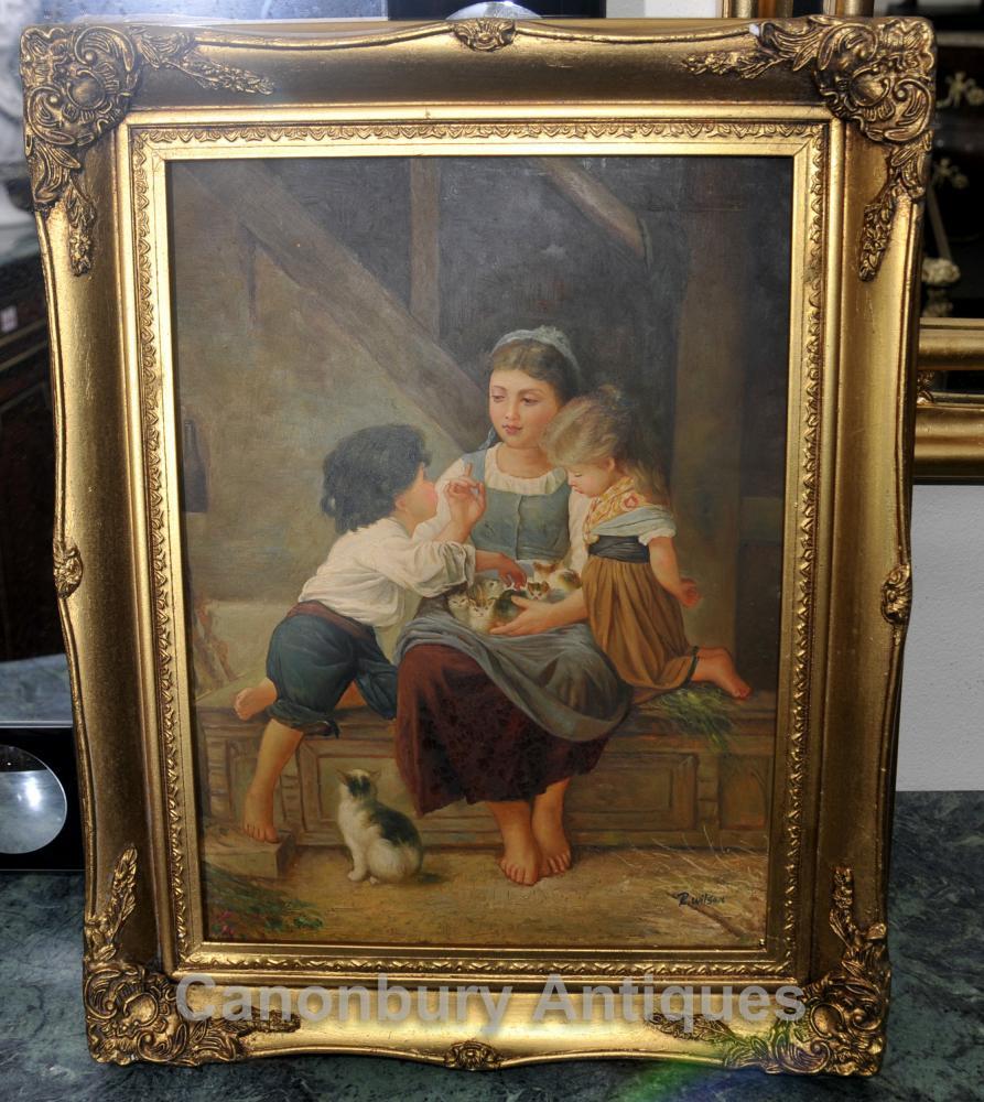 Français Peinture à l'huile rustique enfants Kitten Portrait Signée Cadre Gilt