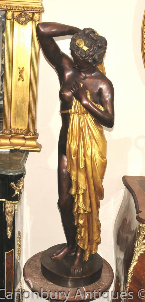 Grand Bronze Français Semi Nude Maiden Statue Figurine