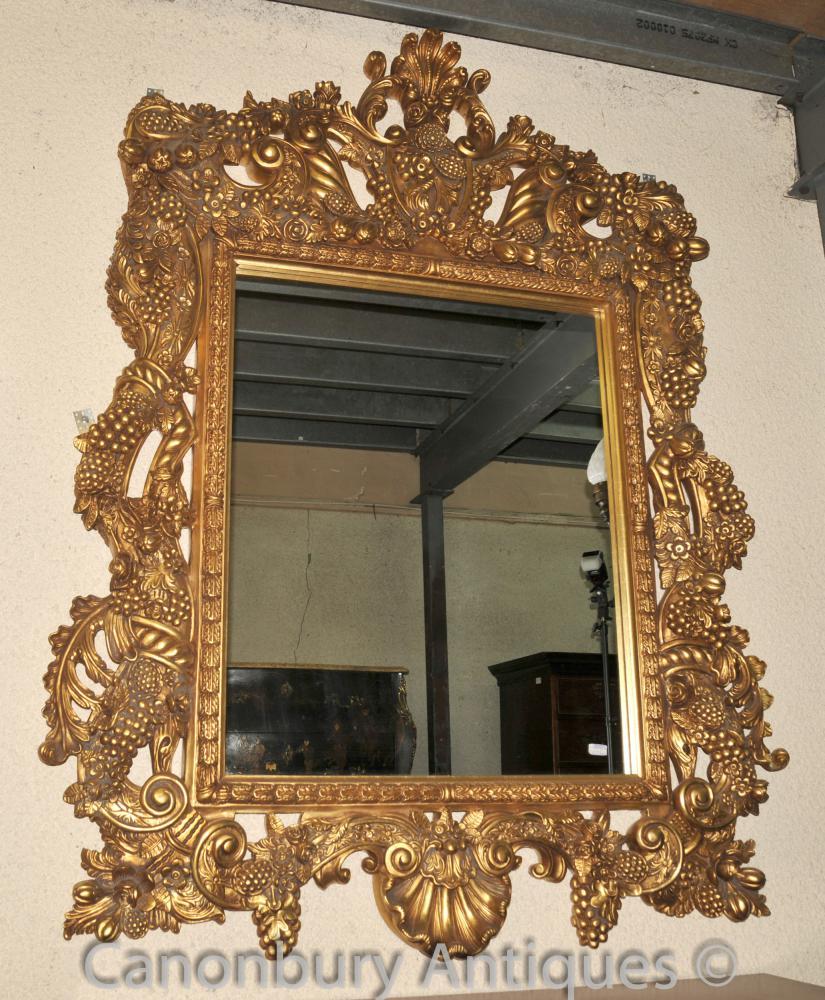Grand Louis XVI Pier Miroir cadre doré en verre Miroirs