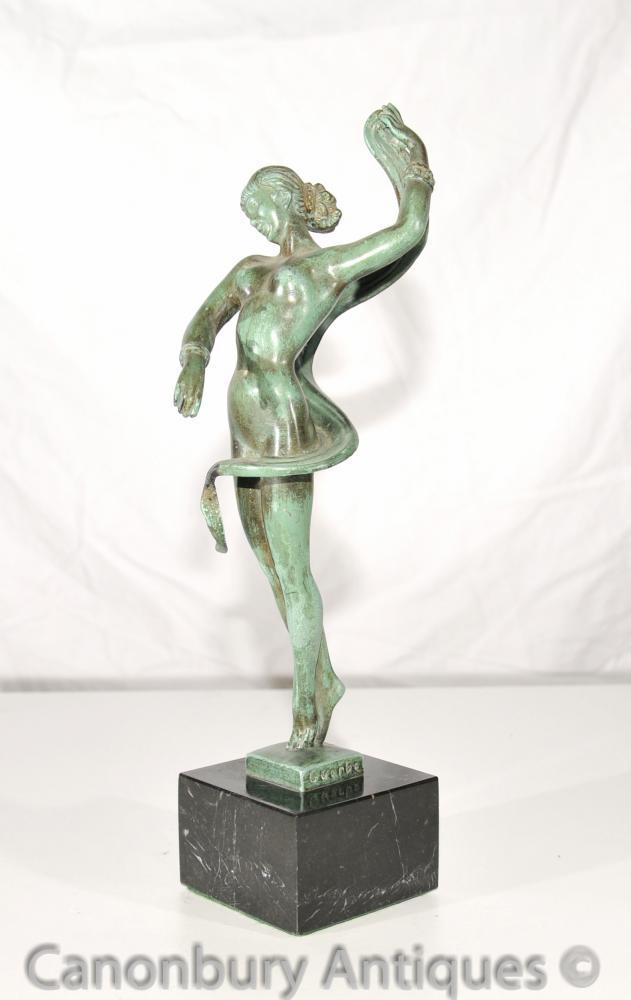 Original Art Deco Bronze Danseur Signé Guerbe Le Verrier Fonderie