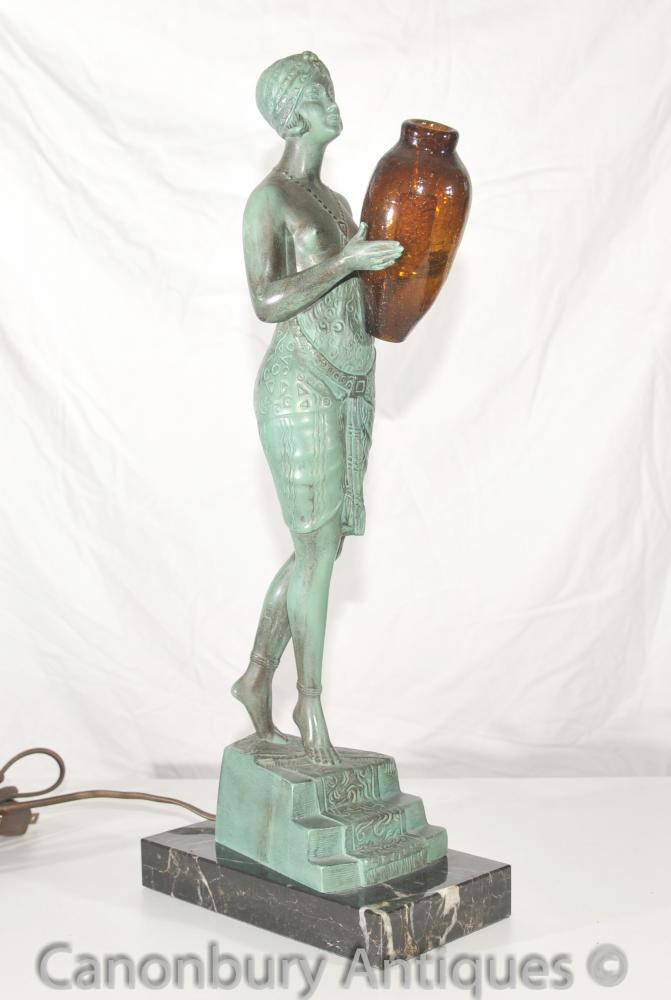 Original Art Deco Bronze Lamp Signé Faguays français Le Verrier Antique