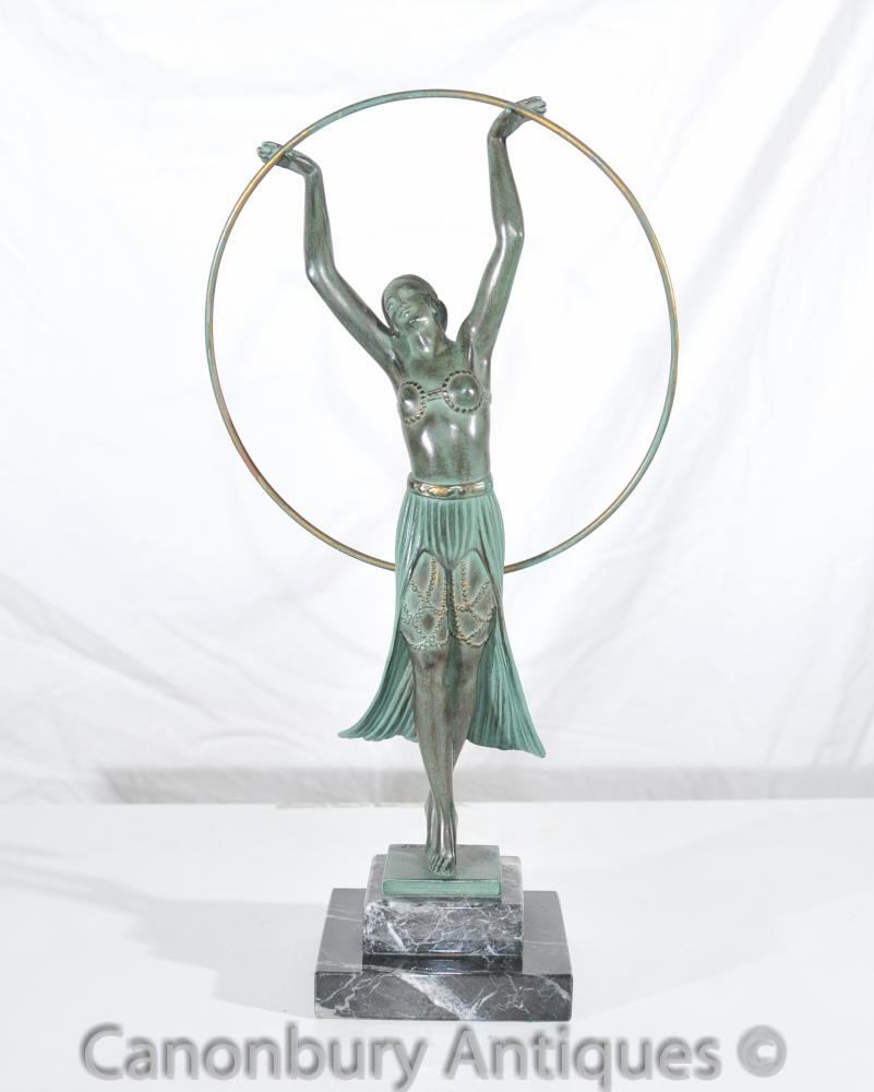 Originale Charles Sykes Art Deco Hoop Fille Antique Statue Signée