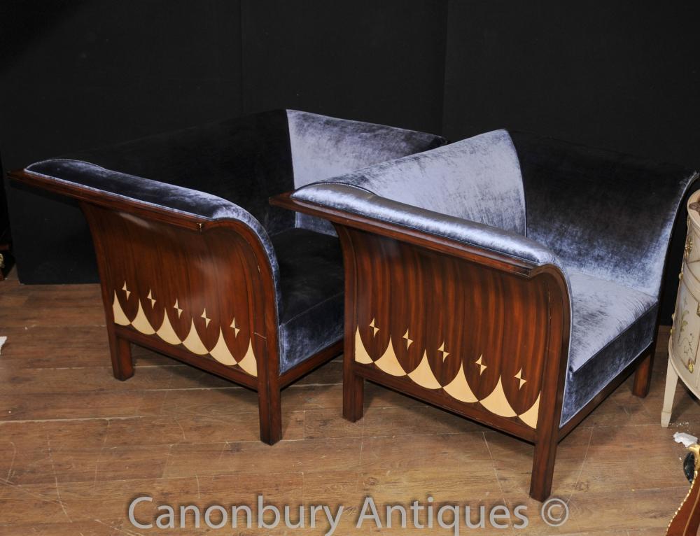 Paire élégante club Arm Chaises Chaise Deco Acajou Modernist Seat