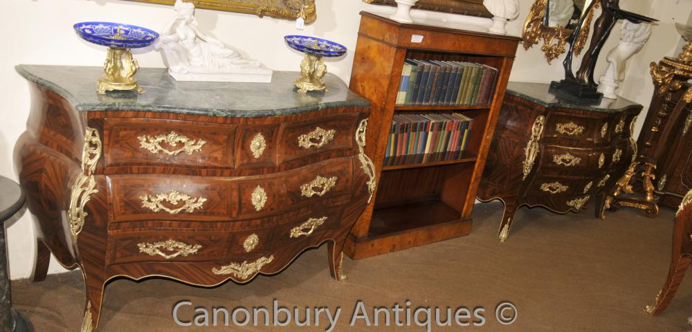 Paire Big Français Empire Bombe Chest Tiroirs Commodes
