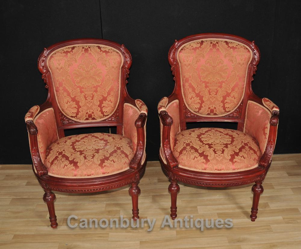 Paire Bras Victorian Chaises Acajou Sièges Chaise Canapé
