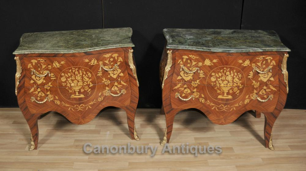Paire Empire Bombe Commodes Commodes Tiroirs Marqueterie Inlay Français