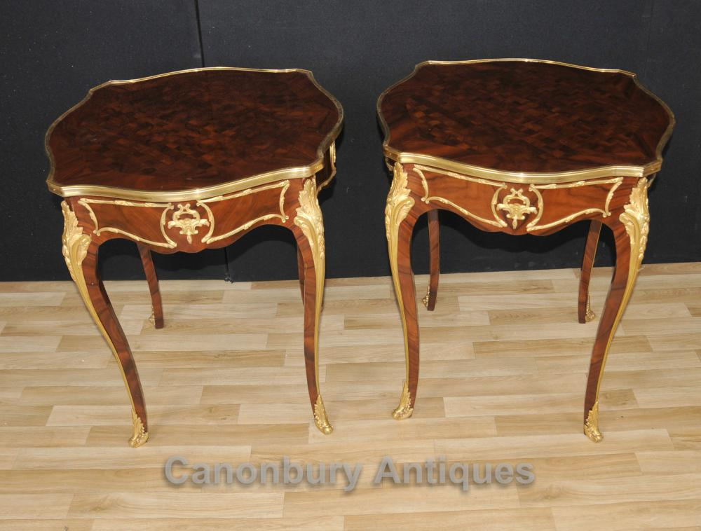 Paire Empire français Tables Cocktail secondaires Marqueterie Inlay