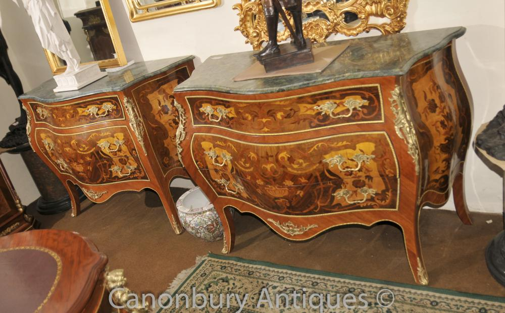 Paire Louis XV Bombe Commode Commodes Marqueterie Inlay