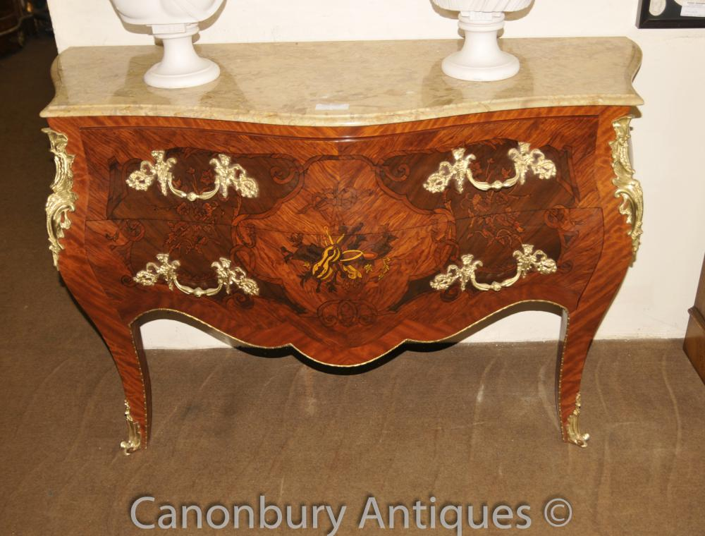 Paire Louis XVI Bombe Commodes Tiroirs Commodes Marqueterie Inlay