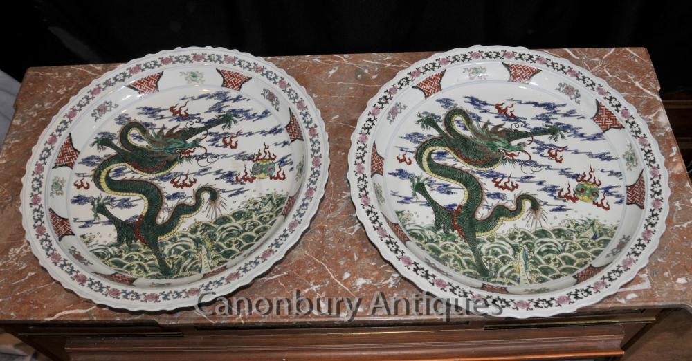 Paire chinois Plaques Qianlong Porcelaine dragon PLAQUES Céramique Chine